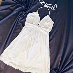 Express White Halter Dress with Gold Accents